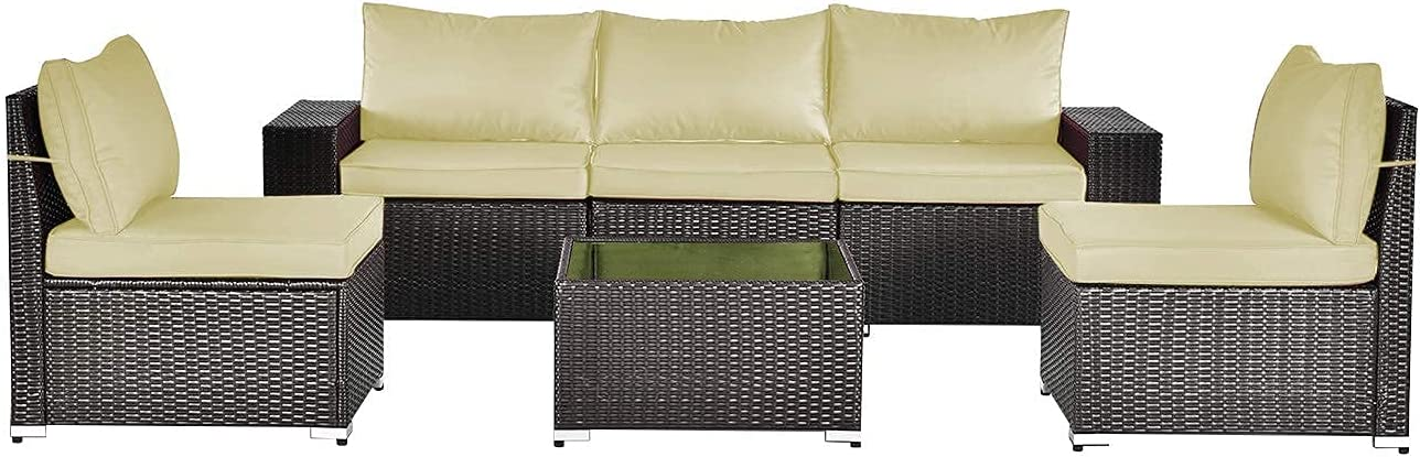 Gotland All-Weather 6 Pieces Patio Furniture Sets Rattan Outdoor Sectional Sofa Handwoven Wicker Patio Dining Conversation Set with Table & Cushions(Dark Brown PE Wicker,Cream Covers)