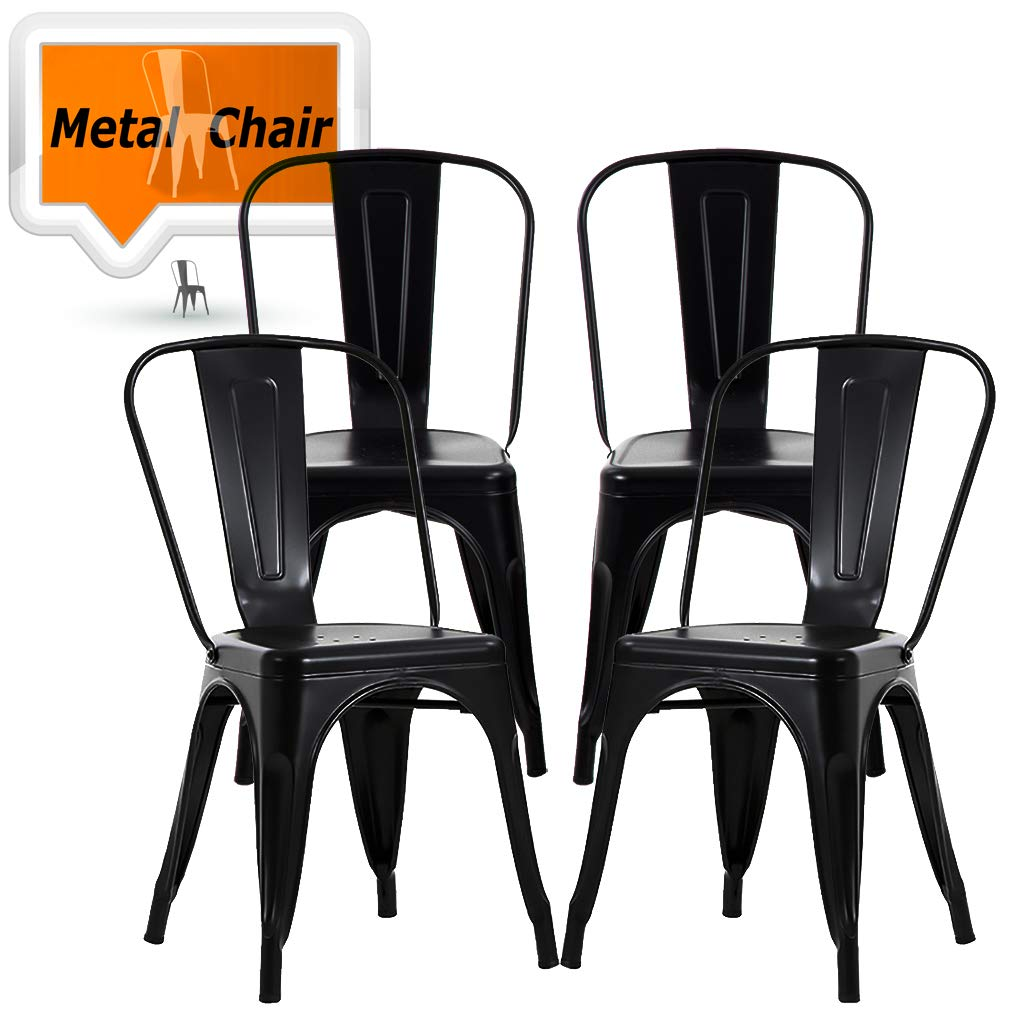 Chairs Metal Stackable Kitchen Dining Chair 18'' Seat Height Indoor/Outdoor Metal Side Bar Chairs Trattoria Chair Set of 4