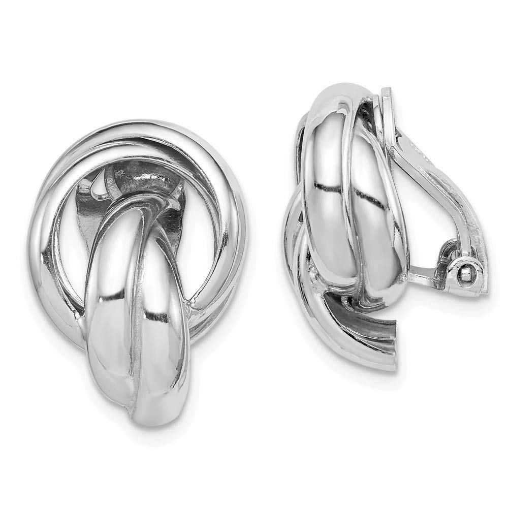 Sterling Silver Rhodium-plated Knot Design Clip Back Non-Pierced Earrings