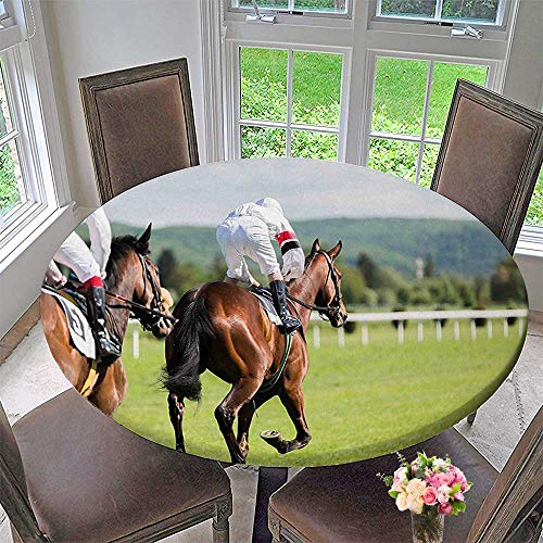Picnic Circle Table Cloths Performance Sport Horse Racing Galloping Jockeys Hobby Activity Picture Multicolor for Family Dinners or Gatherings 35.5