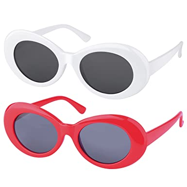 fe912f4d9b COOLOO 2 Pack Clout Goggles Retro Oval Mod Thick Frame UV400 Women Men  Sunglasses Lens  Amazon.co.uk  Clothing