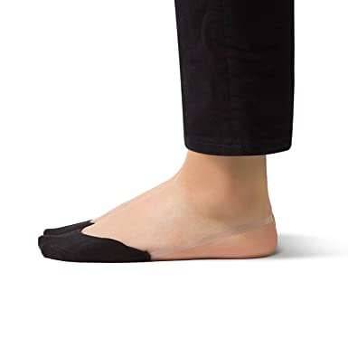 026708c0bd1f2c SHEEC SlingBack - Toe Cover Socks with Clear Elastic Band - Black Regular 4  Prs at Amazon Women s Clothing store