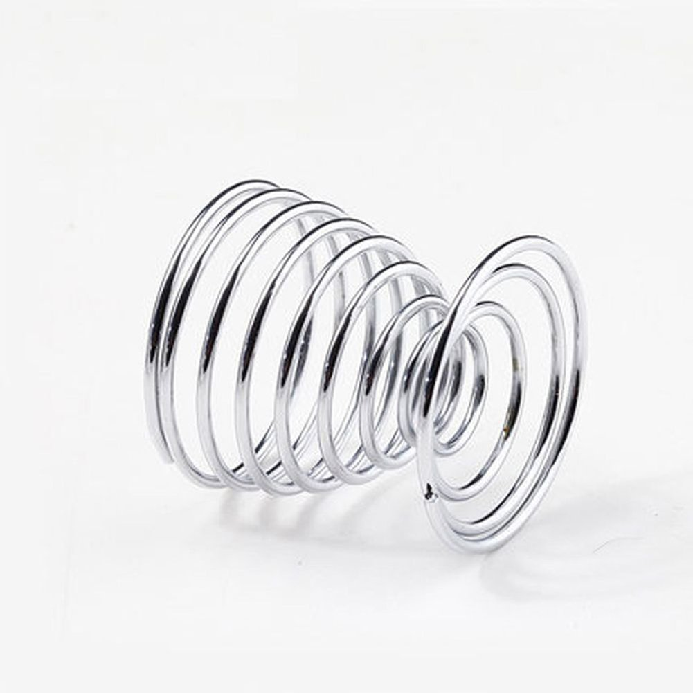 super1798 2Pcs Metal Spiral Spring Wire Tray Egg Cup Storage Holder Stand Kitchen Tool Silver by super1798 (Image #5)