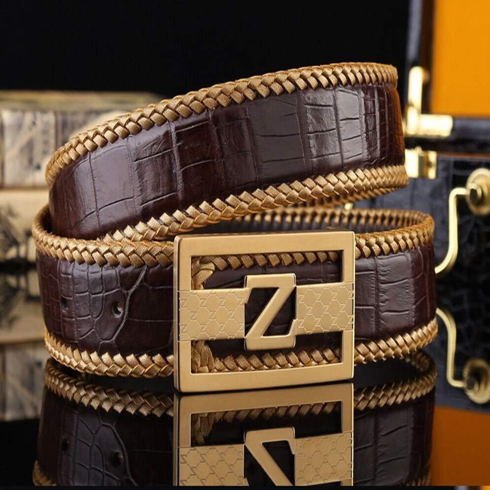 HYLIUP Leather Mens Belt Fashion Belt Mens Leather pin Buckle Belt Steel Buckle Belt Mens Belt