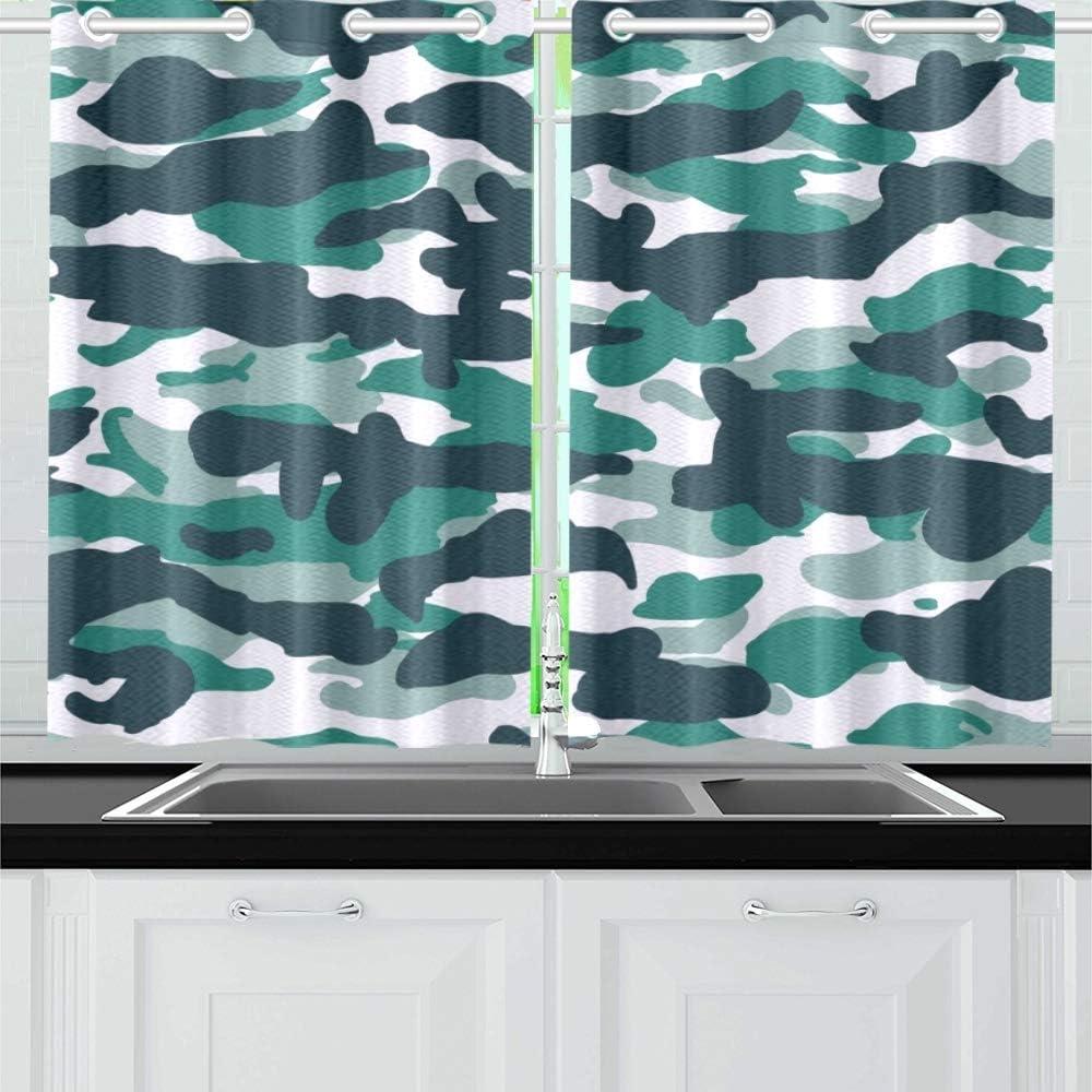 Jincaii Fashion Marine Blue Camo Kitchen Curtains Window Curtain Tiers For Café Bath Laundry Living Room Bedroom 26 X 39 Inch 2 Pieces Amazon Co Uk Kitchen Home