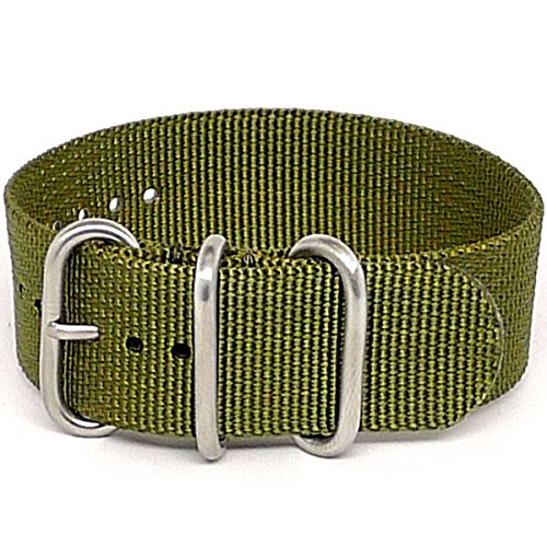 DaLuca Ballistic Nylon Military 1 Piece Watch Strap - Olive (Matte Buckle) : 24mm