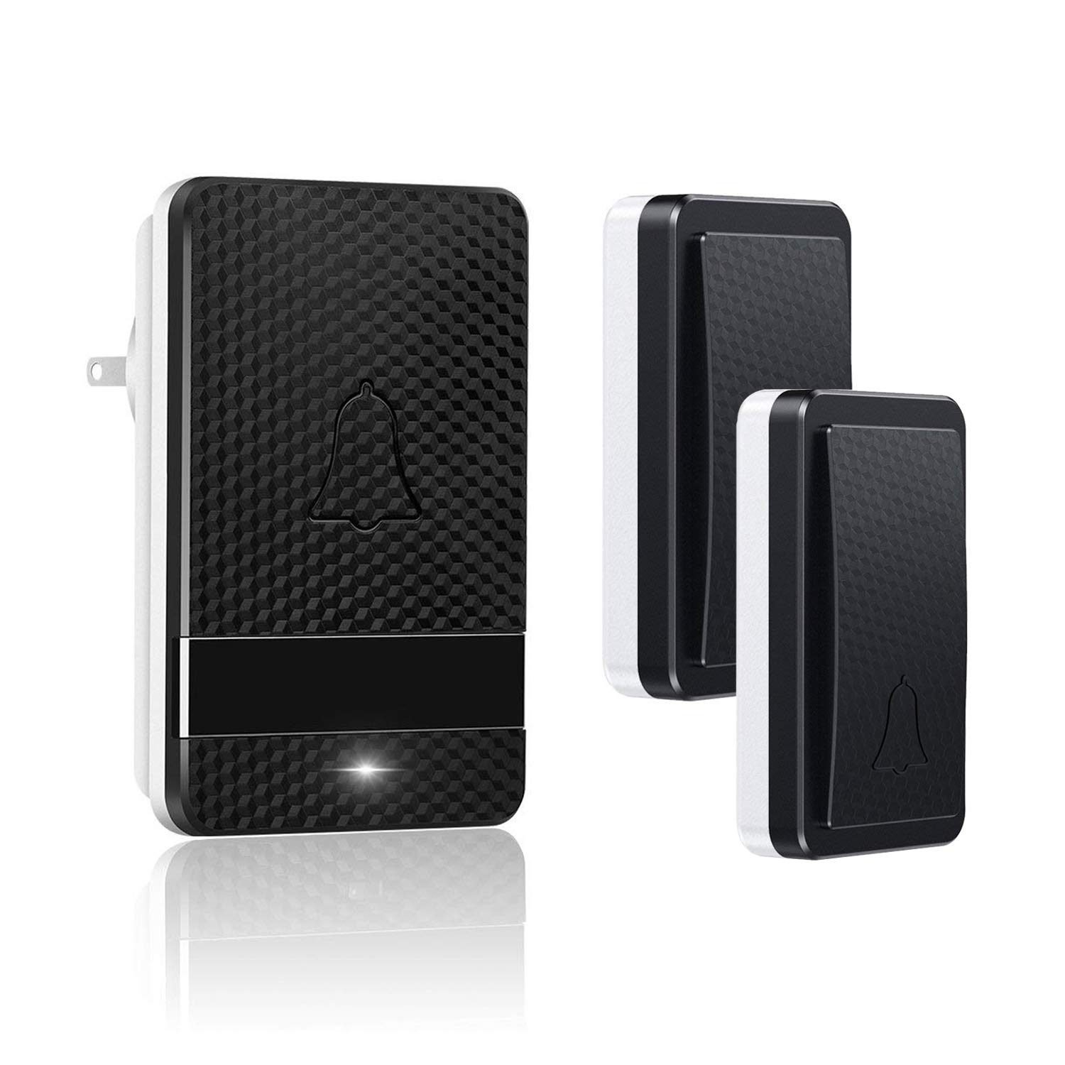 Naswei Wireless Doorbell Waterproof Door Bell Chimes Kits with Battery Free 28 Melodies Level Volume LED Indicator Door Chime 1 Plug in Receiver 2 Transmitters Best for Home Business Office Black