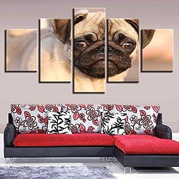 HD Gedruckt Modernes Wohnzimmer 5 Panel Tier Mops Bilder Malerei Wand Kunst  Modulare Poster Home Dekoration