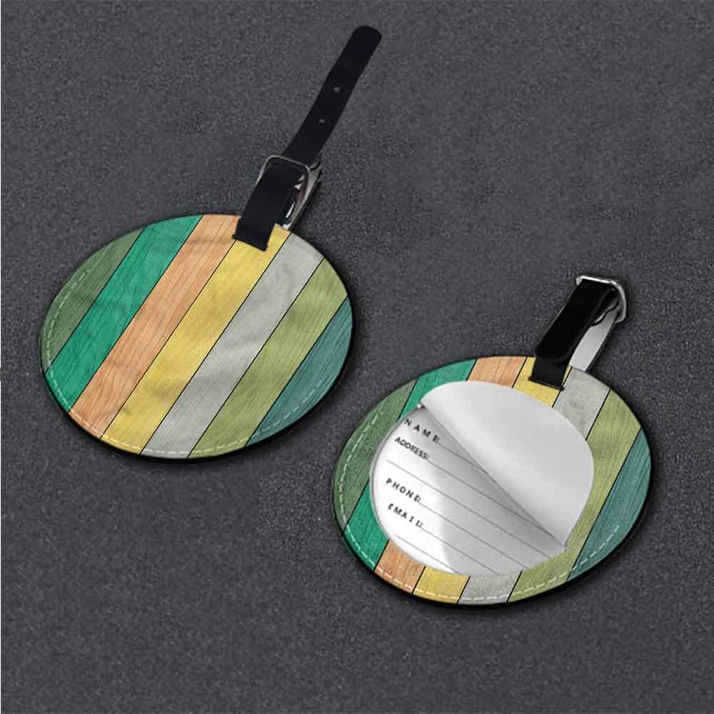 Round Leather Luggage Colorful,Rainbow Umbrella Art Name Tags