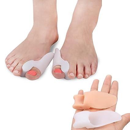 PBFONE 2 pares de dedos de gel de silicona para los pies, separador de dedos