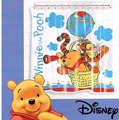 Disney® Vinyl Waterproof Bathroom Standard Bath Shower Curtain with 12 Hooks Rings Set 180cm x 180cm (Mickey Mouse)