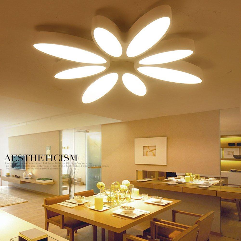 LED Deckenlampe dimmbar Weiß Deckenleuchte Modern Kronleuchter Decke Lampe schlafzimmer küchenlampen kinderzimmer Petal Deckenlicht Macht 60W (Groß)