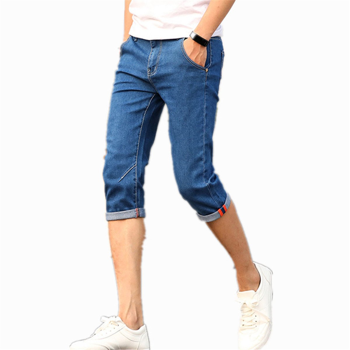 Mens Denim Shorts Good Quality Short Jeans Men Cotton Solid Straight Short Jeans Male Blue Casual Short Jeans