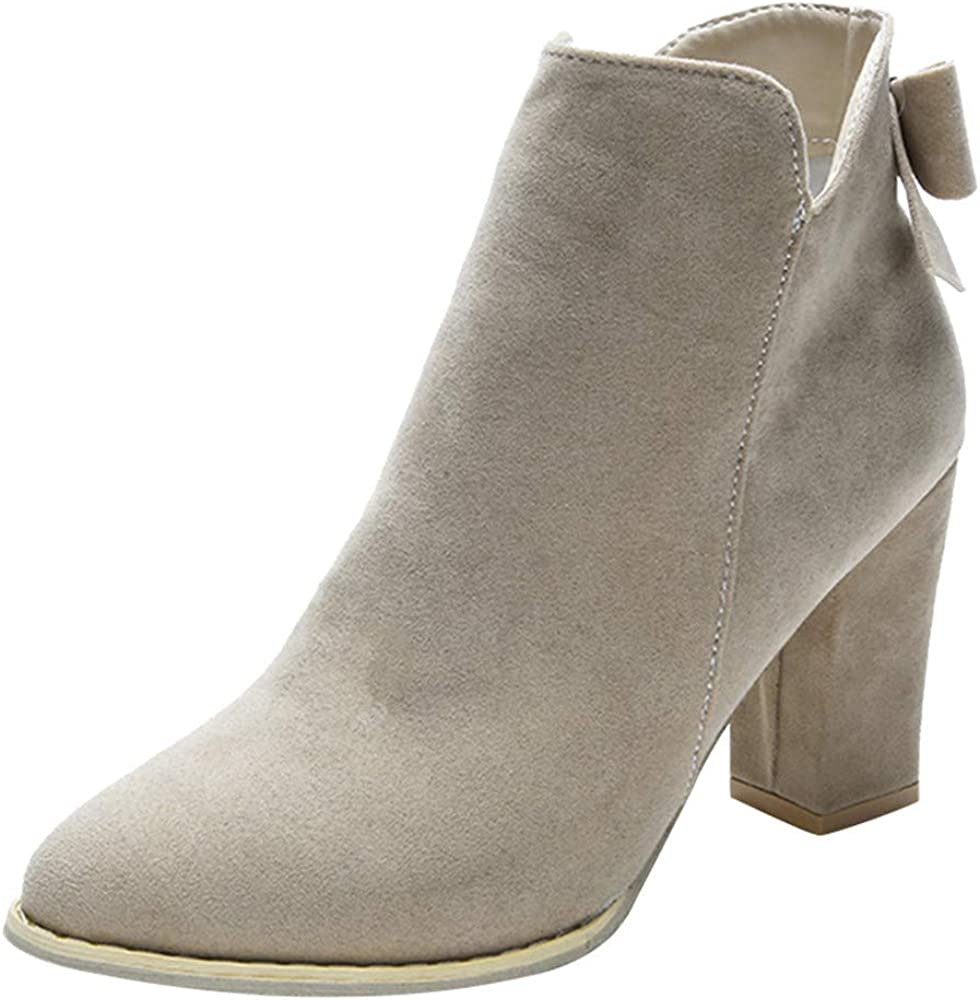 Sunmoot Wedges Suede Ankle Bootie Women High Heels Zipper Pointed Toe Shoes