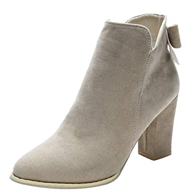 6ac059dac95 DAYSEVENTH Women Flcok Ponited Toe Bow Boots Ankle Boots High Heels Zipper  Martin Shoes(3
