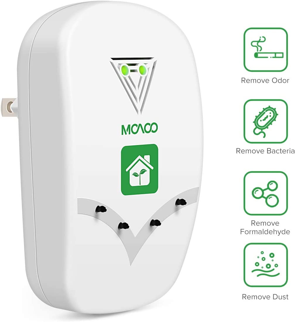 MOAOO Air Purifier for Home, Plug-in Air Purifier, Air Purifier No Filter Portable Household Eliminator Air Ionizers for Remove Smoke, Dust, Odor