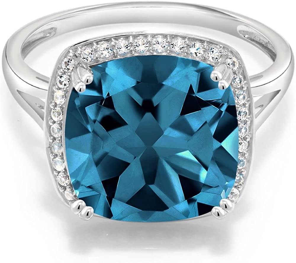 Gem Stone King 10K White Gold London Blue Topaz and White Diamond Women's Ring (8.54 Cttw Gemstone Birthstone Available 5,6,7,8,9)