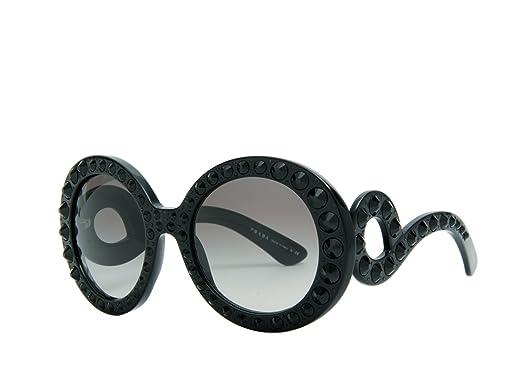 8a1d18f6487b Amazon.com  Prada 31PS 1AB0A7 Black 31PS Ornate Round Sunglasses ...
