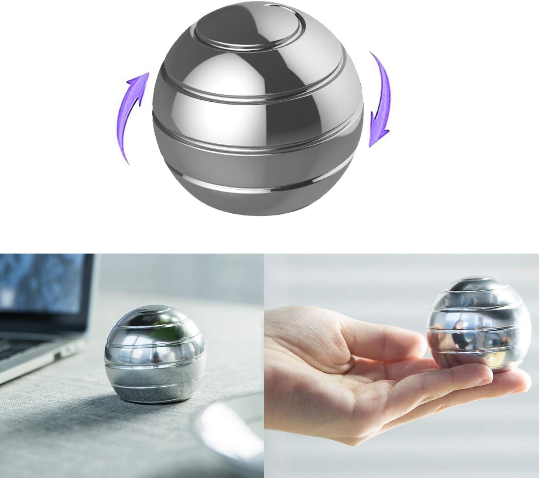 Full Body Optical Illusion Metal Stress Ball WedFeir Kinetic Desk Toy Balls Sliver Gifts for Adults Kids. Fidget Spinner Ball Desktop Gyro