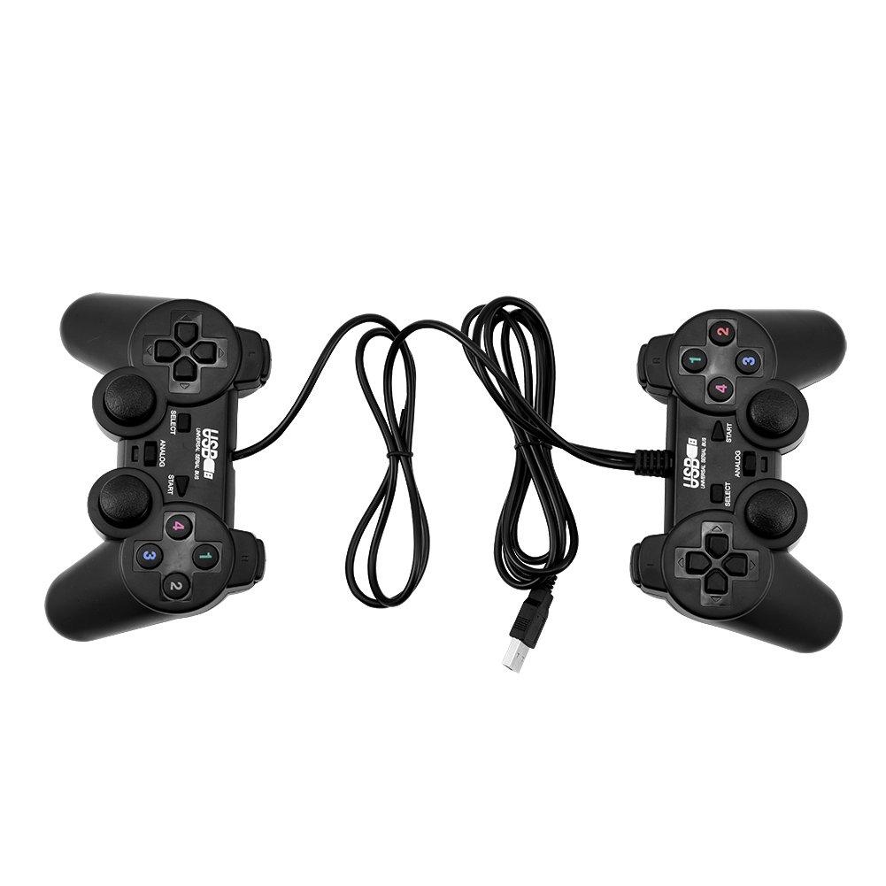 Controller Gamepad USB 2Pcs, controller di gioco cablato Dual Shock Joystick Gamepad Double Vibration per PC Zerone