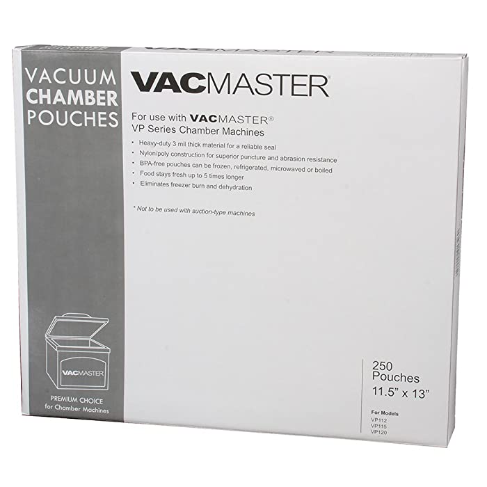 """VacMaster 40726 3-Mil Vacuum Chamber Pouches, 11.5 by 13"""", Clear"""