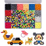 GARUNK Kids Educational Toys Fuse Beads, 24 Colors 3200 Fuse Beads Refill Water Spray Beads Magic Sticky Beads Art Crafts Toys for Kids Beginners with DIY Pegboard Kits