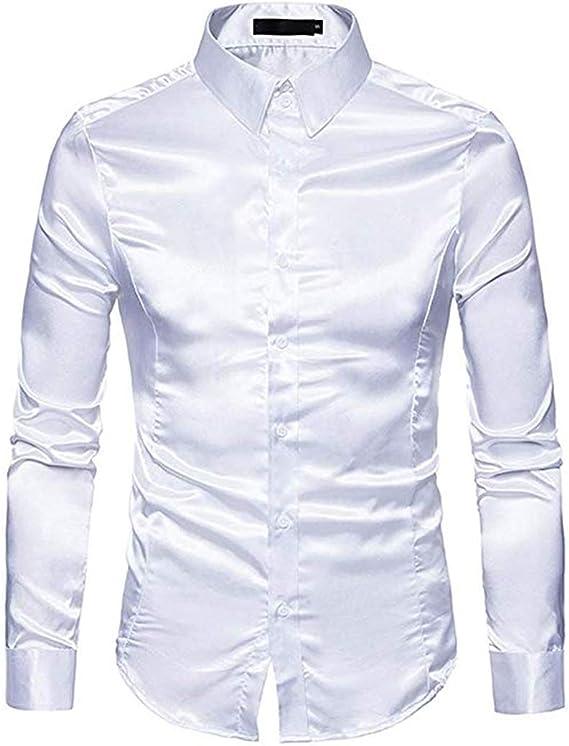 Camisa de satén Brillante para Hombre, Manga Larga con Botones de Seda Maciza, Camisa Formal Blanco Blanco S: Amazon.es: Ropa y accesorios
