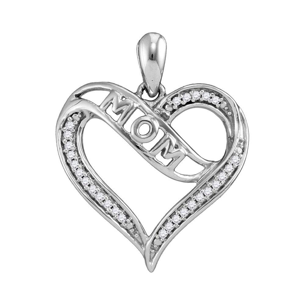 Sterling Silver Womens Round Diamond Mom Mother Heart Pendant 1 8 Cttw