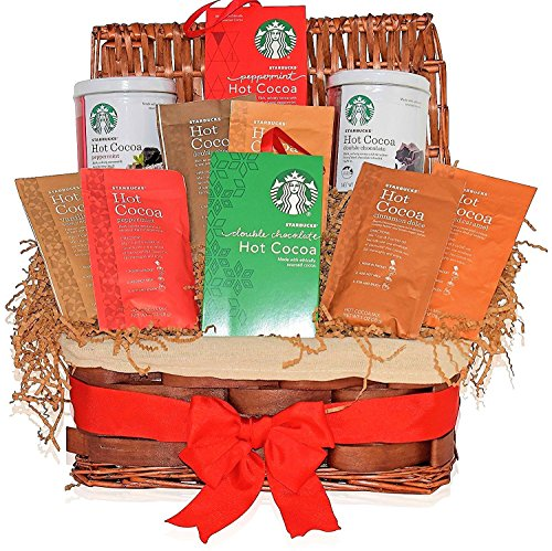 Starbucks Valentines Day Gift Basket - 6 Hot Cocoa Different Flavors - Peppermint, Double Chocolate, Salted Caramel, Marshmallow and more - Gifts for Him and Her