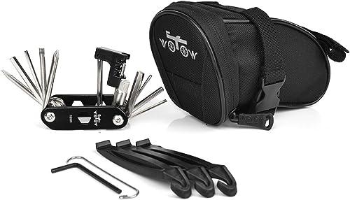 WOTOW Bike Repair Tool Kits Saddle Bag 14 in 1 Multi Function Tool Kit Chain Splitter