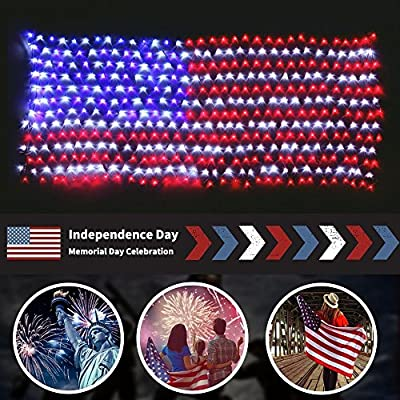 MZD8391 Waterproof American US Flag LED String Light-[UPGRADED LARGER And SAFER]-USA Flag Light/Decorative Hanging Ornaments For Independence Day, Memorial Day,July 4th