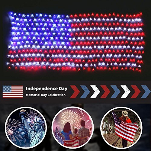 MZD8391 Waterproof American US Flag LED String Light-[UPGRADED LARGER And SAFER]-USA Flag Light/Decorative Hanging Ornaments For Independence Day, Memorial Day,July 4th, National Day (Spirit Contact Number)