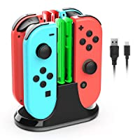 Joy Con Charging Dock Compatible with Nintendo Switch, YCCTEAM 4 in 1 Switch Joycon Controller Charger Station Stand with Individual LED Indicator and 3.3FT Charging Cable
