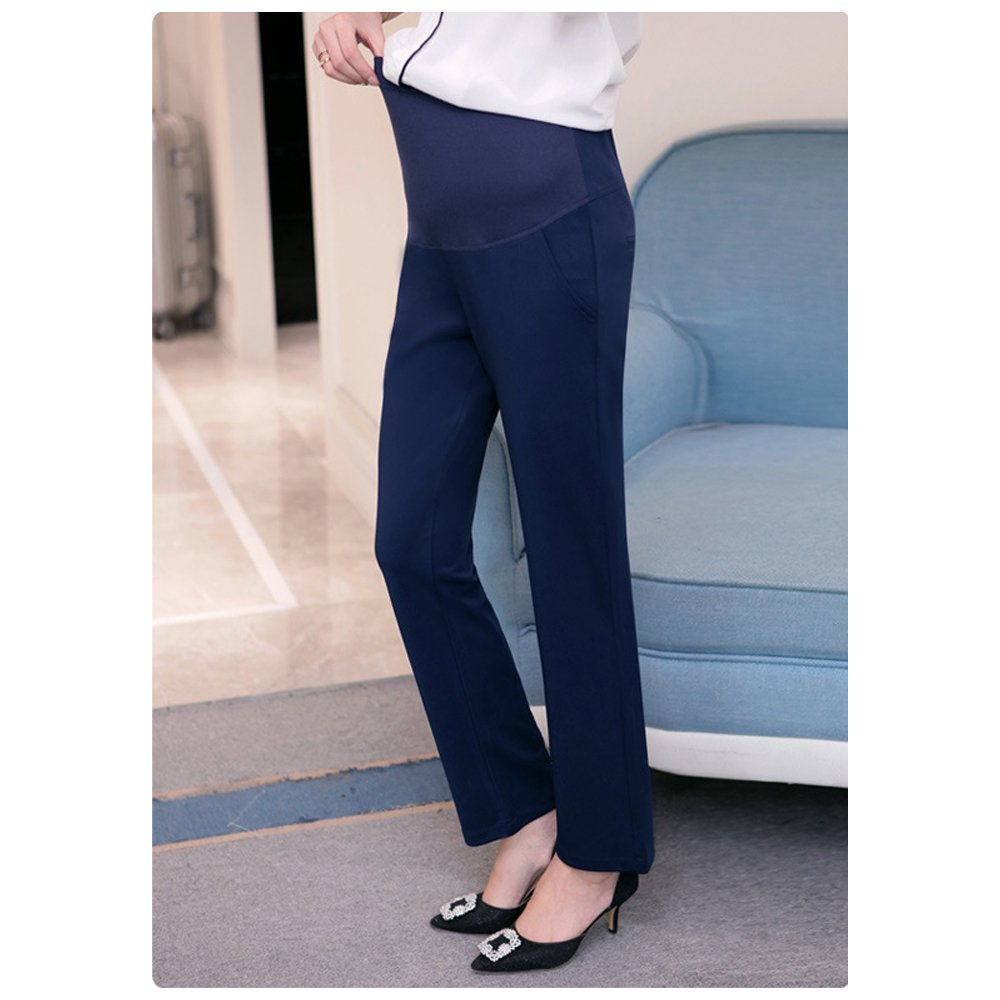 XFentech Womens Autumn Elegant Maternity Trousers Cotton Solid Color Over Bump Pregnancy Work Pants