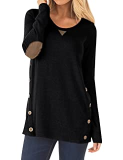 ffabe1e78fe3 Sanifer Women s Long Sleeve Crew Neck Loose Shirt Tunic Top Blouse with  Button Details
