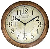 Adalene 14-Inch Large Wall Clock Decorative Living Room Modern - Battery Operated Quartz Analog Movement Silent Wall Clock For Home - Round Beige Dial, Arabic Numerals Wood Wall Clock Non Ticking