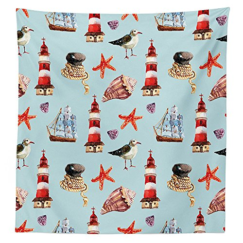 Seagulls Decor Tablecloth Nautical Pattern with Sail Rope Starfish Shell Lighthouse Underwater Life Sailer Marine Dining Room Kitchen Rectangular Table (Butterfly Tie Dye Bandana)