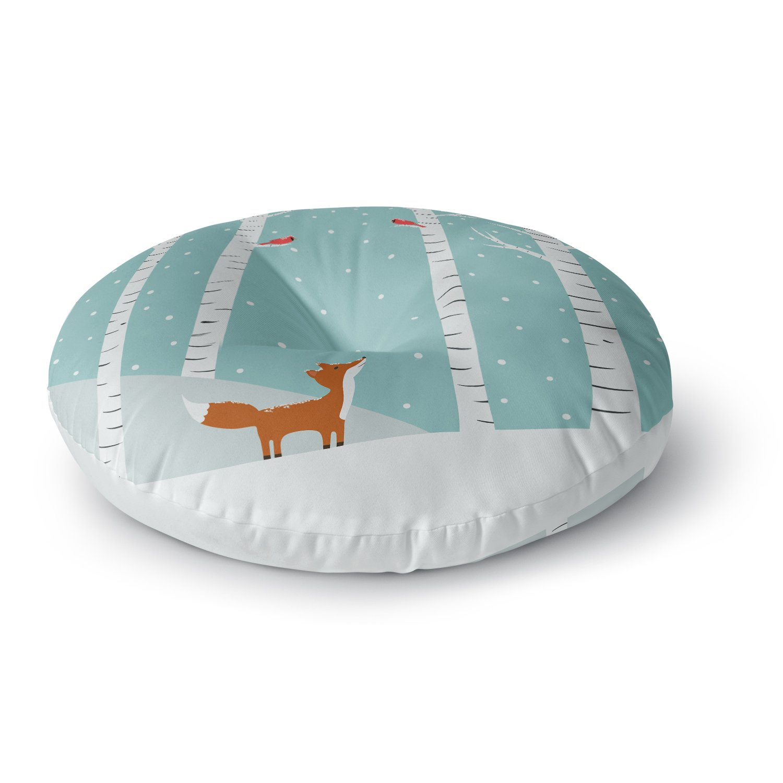 KESS InHouse Cristina Bianco Design Fox Cardinals Winter Blue Kids Round Floor Pillow, 26''