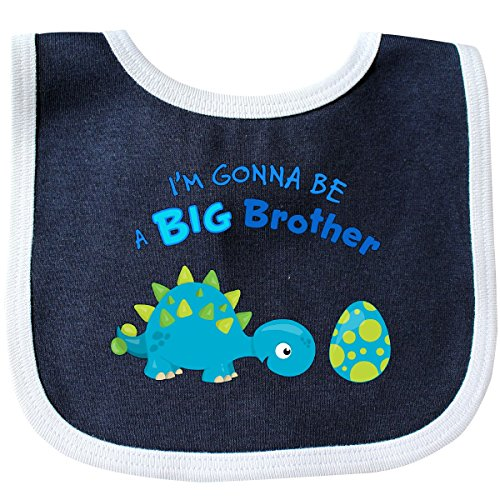 Inktastic - Happy Dinosaur Future Big Brother Baby Bib Navy/White (Big Brother Bib)