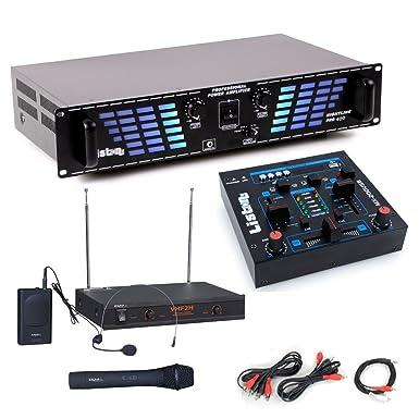 sistema de expansión PA 1200W USB amplificador mezclador de micrófono inalámbrico MP3 DJ Add-On