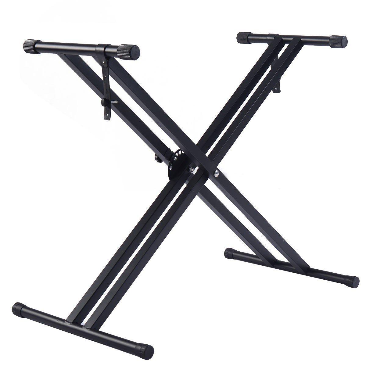 Apontus Adjustable Music Keyboard Electric Piano X-Stand Metal Dual Tube Standard Rack