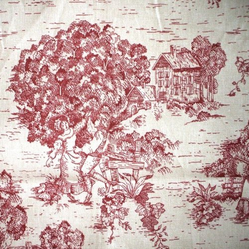 French Country Toile Crimson Red Large Neckroll Pillow 16 inches x 7 inches Toile Neckroll