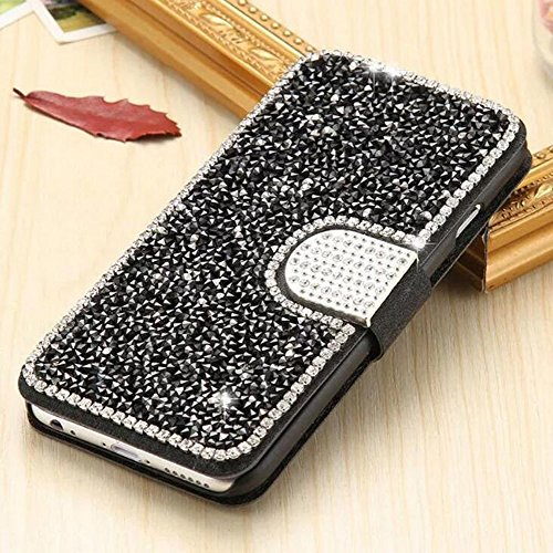 Samsung Galaxy Note 4 Case, Mixneer Luxury 3D Handmade Glitter Wallet Cover With Card Slot Kickstand Floral Bling Diamond Flip Leather Case for Samsung Galaxy Note 4 - Black