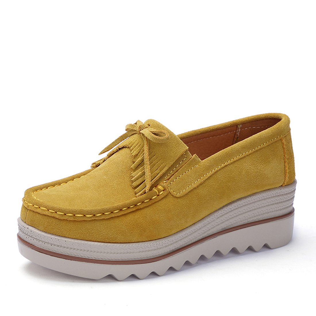 Z.SUO Mocassini Donna in Pelle Scamosciata Moda comode Loafers Scarpe da Guida Giallo