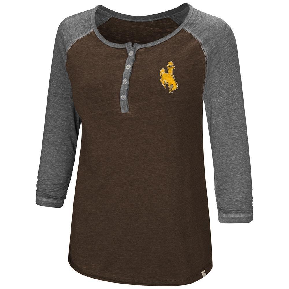 レディースWyoming Cowboys Henley 3 / 4長袖Teeシャツ B07DWQRRG1   Medium