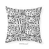 VROSELV Custom Cotton Linen Pillowcase Casino Decorations Collection The Dices Close-Up Monochromic Chaotic Crowded Gaming Houses Bedroom Living Room Dorm 12''x12''