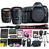 Canon EOS 5D Mark IV Digital SLR Camera (Wi-Fi, GPS) ESSENTIAL Multi-Lens STARTER Kit with Camera Body, EF 16-35mm f/4L IS USM Lens, EF 24-70mm f/4L IS USM Lens & Camera Works Premium Accessory Bundle