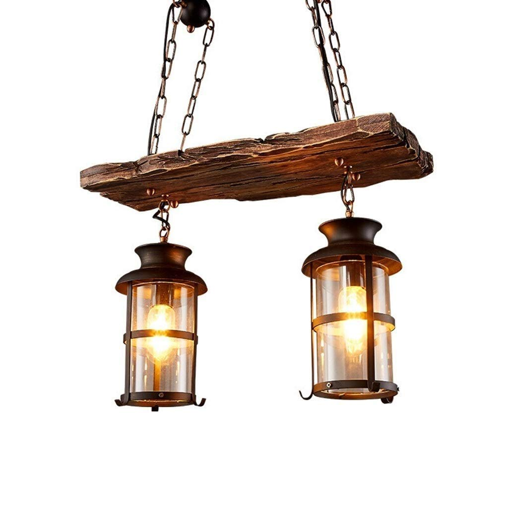 YINGDQ Vintage Industrial Metal Hanging Chandelier, 2 Head Wood Pendant Light with Glass Shade Retro Ceiling lamp Decoration Hallway Living Room Restaurants