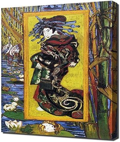 Amazon Com Lilarama Usa Vincent Van Gogh Japonaiserie Oiran After Kesai Eisen Framed Canvas Art Print Reproduction Posters Prints