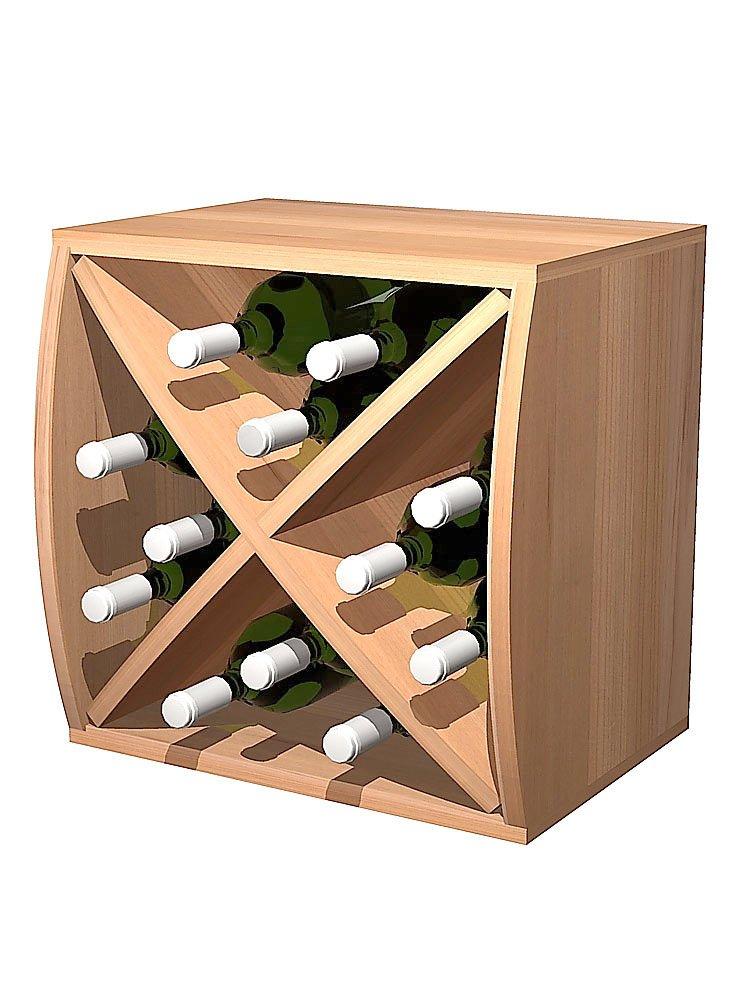 Curvy Wine Storage Cube with Diamond Insert Convex;Premium Redwood Unstained